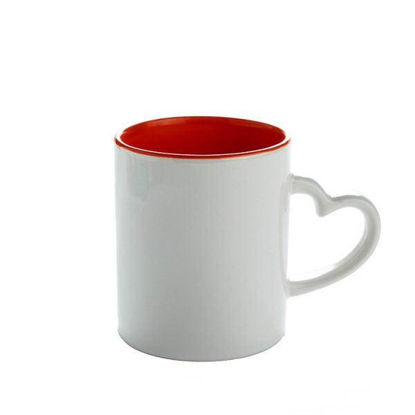red inner color heart handle mug
